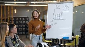 Gruppo di giovane donna caucasica d'ascolto concentrata della gente che che mostra risultato economico sul bordo stock footage