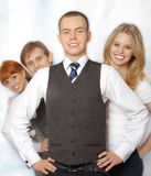 Gruppo di giovane gente di affari felice Fotografie Stock Libere da Diritti