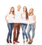 Gruppo di giovani, adolescenti alla moda e felici isolati su bianco Fotografie Stock Libere da Diritti