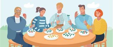 Gruppo di giovani amici che si siedono alla tavola in un caffè illustrazione di stock