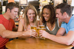 Gruppo di giovani amici che tostano in una barra Immagine Stock Libera da Diritti