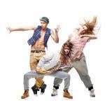 Gruppo di giovani ballerini hip-hop su fondo bianco Fotografie Stock Libere da Diritti