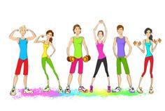 Gruppo di giovani di sport, uomo variopinto dei vestiti illustrazione di stock