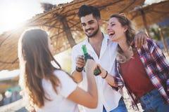 Gruppo di giovani felici che godono delle vacanze estive Fotografie Stock Libere da Diritti