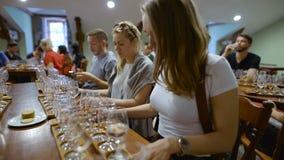 Gruppo di giovani su un assaggio di vino La stanza di assaggio video d archivio