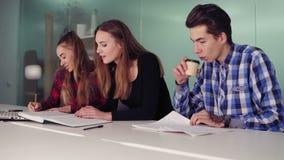 Gruppo di giovani sulla riunione in appartamento moderno Tre studenti che lavorano al loro compito che si siede insieme a archivi video