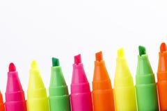 Gruppo di indicatori luminosi di colore della penna a feltro Fotografie Stock Libere da Diritti