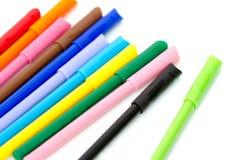 Gruppo di indicatori luminosi di colore su fondo bianco Fotografia Stock