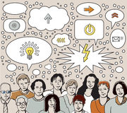 Gruppo di lampo di genio: la gente e bolle di idee illustrazione di stock
