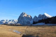 Gruppo di Langkofel nel Tirolo del sud L'Italia Fotografia Stock