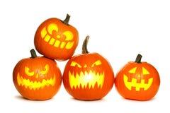 Gruppo di lanterne di Halloween Jack o isolate su bianco Fotografia Stock