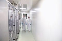 Gruppo di lavoratori in vestiario di protezione in una camera sterile di una f immagini stock libere da diritti