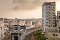 Gruppo di lavoro di stoccaggio e di riparazione della linea tranviaria parigina fotografia stock libera da diritti