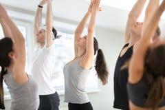 Gruppo di lezione di pratica di yoga dei giovani sportivi, montagna po fotografia stock libera da diritti
