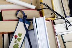 Gruppo di libri dalla cima Fotografia Stock