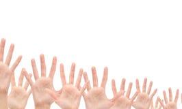 Gruppo di mani nell'aria Fotografie Stock