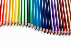 Gruppo di matite colorate su bianco Fotografia Stock Libera da Diritti