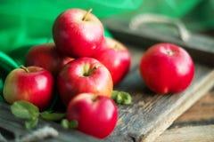 gruppo di mele rosse su sfondo naturale di legno, su alimento naturale fresco e sul concetto delle vitamine nello stile rustico Immagini Stock