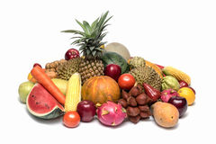 Gruppo di merce nel carrello della frutta asiatica o tropicale, Tailandia Immagine Stock