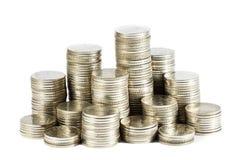 Gruppo di monete tailandesi Fotografia Stock