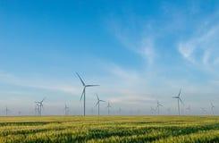 Gruppo di mulini a vento per produzione di energia elettrica nel campo di grano verde Fotografia Stock Libera da Diritti