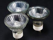 Gruppo di nessun lampadine del LED GU10, lampade contro un fondo nero Fotografia Stock Libera da Diritti