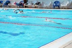 Gruppo di nuotatori nello stagno immagine stock