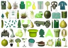 Gruppo di oggetti verdi fotografia stock