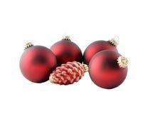 Gruppo di ornamenti rossi dell'albero Immagini Stock Libere da Diritti
