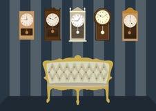 Gruppo di orologi d'annata con la poltrona di lusso, illustrazioni di vettore Immagini Stock Libere da Diritti