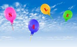 Gruppo di palloni, concetto di volo del messaggio di vendita per il negozio Immagini Stock