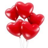 Gruppo di palloni a forma di del cuore rosso Fotografia Stock