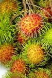 Gruppo di pelle fresca di rosso del rambutan Immagini Stock