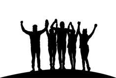 Gruppo di persone di affari che tengono le mani sollevate riuscito Team Black Silhouettes felice Fotografia Stock