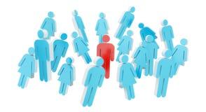 Gruppo di persone bianco e blu la rappresentazione dell'icona 3D Immagini Stock Libere da Diritti