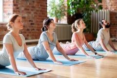Gruppo di persone che fanno posa della cobra di yoga allo studio Fotografia Stock