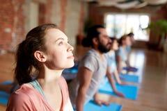 Gruppo di persone che fanno posa della cobra di yoga allo studio Fotografia Stock Libera da Diritti