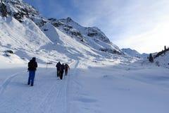 Gruppo di persone che fanno un'escursione sul panorama nevoso invernale della montagna e del percorso nelle alpi di Stubai Fotografia Stock
