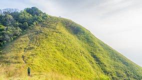 Gruppo di persone che fanno un'escursione in vetro verde del paesaggio di alto mou della collina Immagine Stock