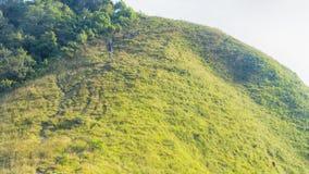 Gruppo di persone che fanno un'escursione in vetro verde del paesaggio di alto mou della collina Fotografie Stock