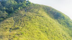 Gruppo di persone che fanno un'escursione in vetro verde del paesaggio di alto mou della collina Fotografia Stock