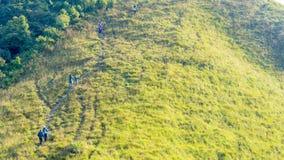 Gruppo di persone che fanno un'escursione in vetro verde del paesaggio di alto mou della collina Immagini Stock