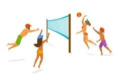 Gruppo di persone che giocano beach volley Illustrazione di Stock