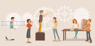 Gruppo di persone che lavorano alla ruota di ingranaggio cogwheel illustrazione di stock