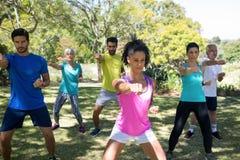 Gruppo di persone che si esercitano nel parco Immagine Stock Libera da Diritti