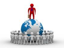 Gruppo di persone che si levano in piedi globo rotondo. royalty illustrazione gratis