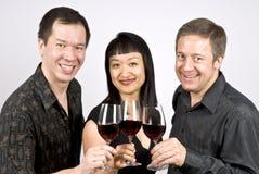 Gruppo di persone che tostano con il vino rosso Fotografia Stock