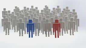 Gruppo di persone con due capi Fotografia Stock