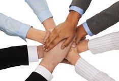 Gruppo di persone di affari che celebrano vittoria Immagini Stock Libere da Diritti
