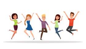Gruppo di persone felice, ragazzo, ragazza che salta su un fondo bianco Il concetto di amicizia, stile di vita sano, successo Ill Immagine Stock Libera da Diritti